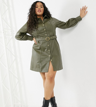 Violet Romance Curve belted faux leather shirt dress in khaki