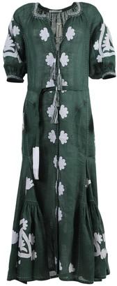 Shalimar Linen Midi Dress Green/white