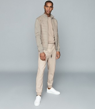 Reiss Napali - Jersey Tracksuit Joggers in Oatmeal