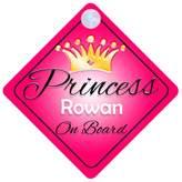 mybabyonboard UK Princess Rowan On Board Personalised Girl Car Sign Baby / Child Gift 001