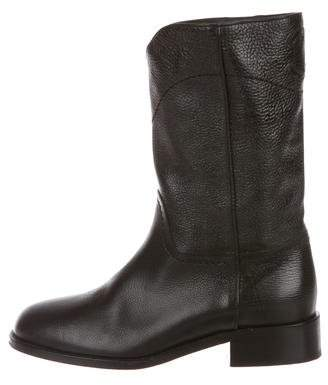 Chanel CC Leather Mid-Calf Boots