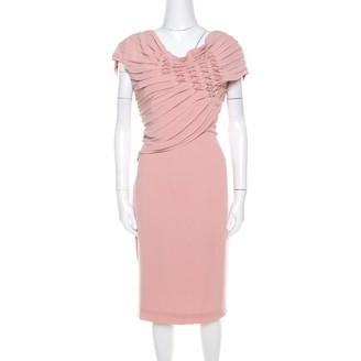Escada Bellini Pink Crepe Pinch Pleat Draped Dyani Dress L
