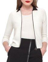 Akris Bicolor Zip-Front Cardigan, Black/White