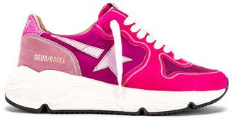 Golden Goose Running Sole Sneaker in Fuchsia Suede, Pink Star & Glitter | FWRD