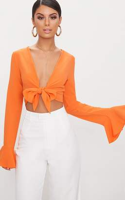 PrettyLittleThing Tangerine Tie Front Frill Sleeve Blouse