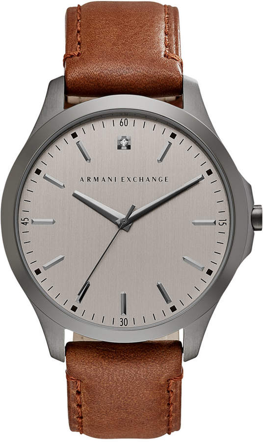 Armani Exchange Men's Diamond Accent Brown Leather Strap Watch 46mm AX2195