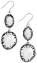Lucky Brand Silver-Tone Black Pavé and White Stone Double Drop Earrings