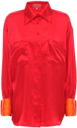 LIYA Silk Satin Shirt W/ Contrast Cuffs