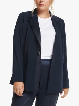 Persona by Marina Rinaldi Cento Satin Trim Jacket, Navy