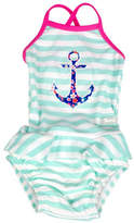 Banz One-Piece Striped Floral Anchor Tankini Swimsuit