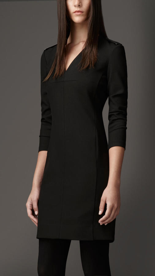 Burberry Leather Detail Shift Dress