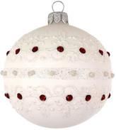 Christmas Shop 8CM BAUBLE GLASS JEWEL EMBELLISHED WHITE