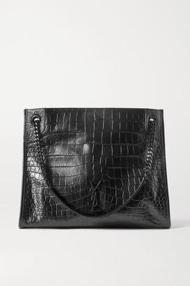Saint Laurent Niki Medium Crinkled Croc-effect Leather Tote - Black