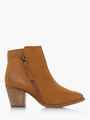 Dune Pontoon Nubuck Block Heel Ankle Boots