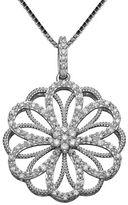 Finecraft Ii Filigree Circle Pendant Necklace with 0.25 TCW Diamonds
