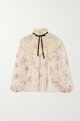Philosophy di Lorenzo Serafini Velvet-trimmed Embroidered Tulle And Floral-print Chiffon Blouse - Ivory