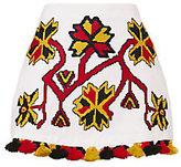 March11 Pom-Pom Hem Embroidered Mini Skirt