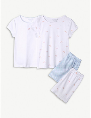 The Little White Company Rainbow graphic-print cotton pyjamas set of two 1-12 years