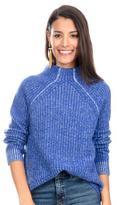 White + Warren Royal Blue Cashmere Plaited Stitch Raglan Sweater