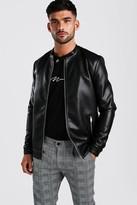 boohoo Mens Black Leather Look Central Zip Biker, Black
