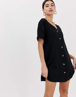 Asos Design DESIGN mini slub button through swing dress-Black