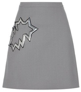 Christopher Kane Wool Miniskirt With Metallic Appliqué