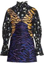 Kenzo Jacquard And Printed Silk Turtleneck Mini Dress