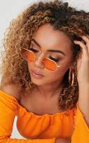 PrettyLittleThing Orange Hexagon Retro Sunglasses