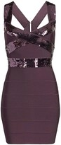 Herve Leger Sequin Criss Cross Mini Bandage Dress