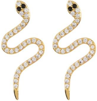 ADORNIA 14K Gold Plated Sterling Silver Swarovski Crystal Snake Stud Earrings