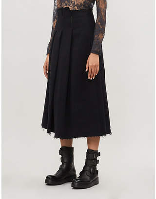 Song For The Mute Raw-hem pleated cotton-twill skirt