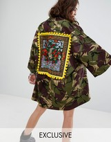 Reclaimed Vintage Inspired Kimono In Camo With Back Patch