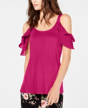 INC International Concepts Inc Ruffled Cold-Shoulder Top, Created for Macy's