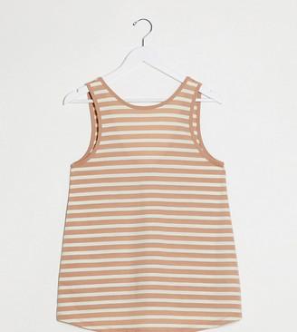 ASOS DESIGN Maternity swing singlet in mink and white stripe