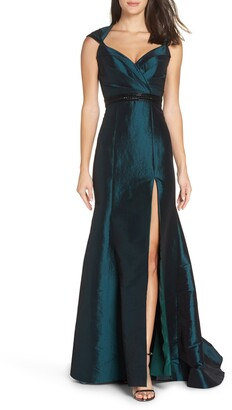 Mac Duggal Taffeta Side Slit Gown