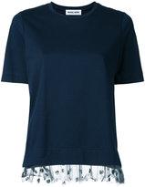 Muveil mesh frill hem top - women - Cotton/Polyurethane - 36