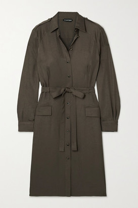 Tom Ford Belted Washed-twill Shirt Dress - Army green