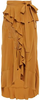 IRO Breathed Ruffled Crepe De Chine Wrap Skirt