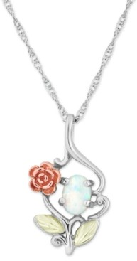 """Black Hills Gold White Opal (7x5mm) Rose Pendant 18"""" Necklace in Sterling Silver with 12k Rose and Green Gold"""