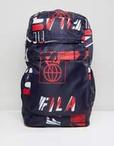 Fila Rouke All Over Logo Print Backpack In Navy