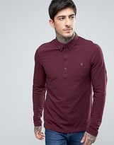 Farah Merriweather Pique Polo Long Sleeve Slim Fit in Bordeaux Marl