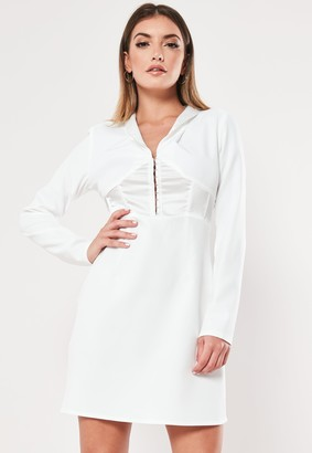 Missguided White Hook And Eye A Line Blazer Dress