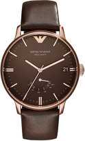 Emporio Armani Large Rose Golden Automatic Watch w/ Leather Strap, Brown