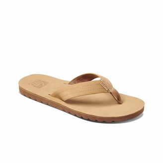 Reef Men's Sandal Voyage Le | Premium Real Leather Flip Flops for Men with Soft Cushion Footbed | Waterproof | Tan | Size 11