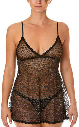 Hanky Panky Women Metallic Leopard Lace Babydoll Nightgown & G-String Set