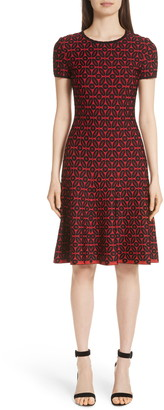 St. John Floral Blister Jacquard Knit Dress