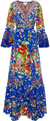 Camilla Playing Koi Embellished Printed Silk Crepe De Chine Maxi Wrap Dress