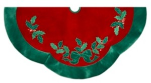 Kurt Adler 48-Inch Velvet Red with Green Leaves Applique Tree skirt