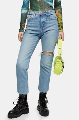 Topshop Bleach Thigh Rip Straight Jeans