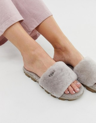 UGG Cozette fluffy slippers in oyster